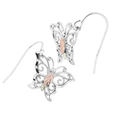 Sterling Silver Black Hills Gold Bright Butterfly Earrings - Jewelry