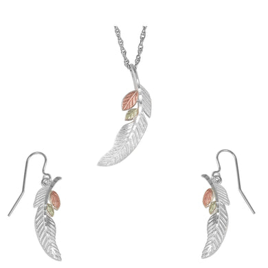 Sterling Silver Feather Earrings & Pendant Set - Fortune And Glory - Made in USA Gifts