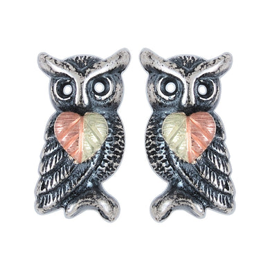Sterling Silver Black Hills Gold Oxidized Owl Earrings - Jewelry