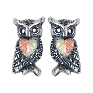 Sterling Silver Oxidized Owl Earrings - Fortune And Glory - Made in USA Gifts