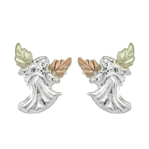 Sterling Silver Black Hills Gold Open Arms Angel Earrings - Jewelry