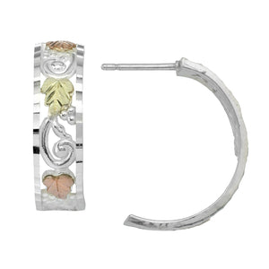 Sterling Silver Black Hills Gold Half Hoop Earrings I - Jewelry