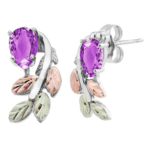 Sterling Silver Black Hills Gold Pear Cut Amethyst Earrings - Jewelry