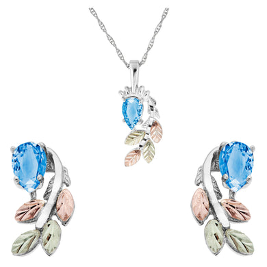 Sterling Silver Pear Cut Blue Topaz Earrings & Pendant Set