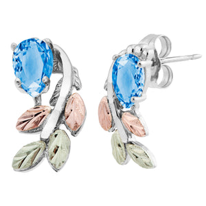 Sterling Silver Black Hills Gold Pear Cut Blue Topaz Earrings - Jewelry