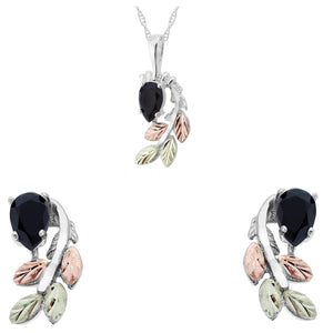 Sterling Silver Pear Cut Onyx Earrings & Pendant Set - Jewelry