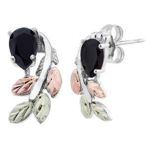 Sterling Silver Black Hills Gold Pear Cut Onyx Earrings - Jewelry