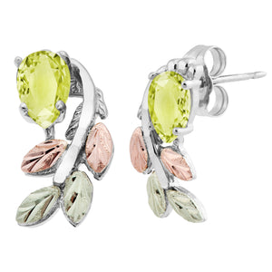 Sterling Silver Black Hills Gold Pear Cut Peridot Earrings - Jewelry