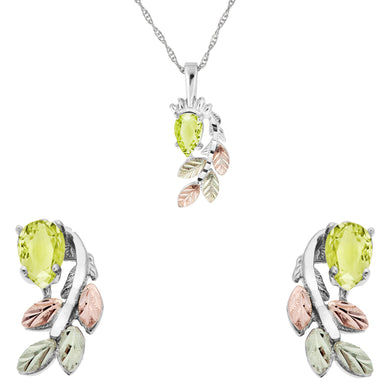 Sterling Silver Pear Cut Peridot Earrings & Pendant Set - Jewelry