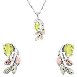 Sterling Silver Pear Cut Peridot Earrings & Pendant Set