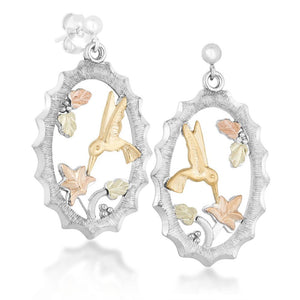 Sterling & Black Hills Gold Hummingbird Earrings - Jewelry