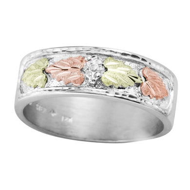 Mens Sterling Silver Black Hills Gold Colorful Foliage Ring - Jewelry