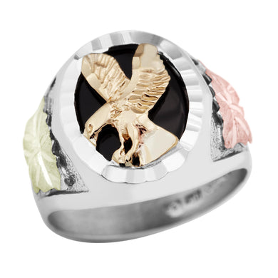 Mens Sterling Silver Black Hills Gold Majestic Onyx Eagle Ring - Jewelry