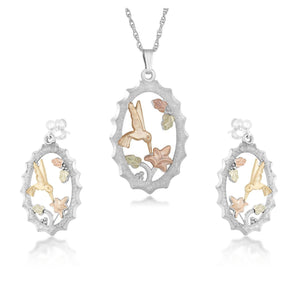 Sterling on Black Hills Gold Hummingbird Earrings & Pendant Set - Jewelry