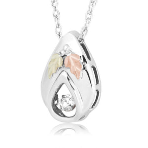 Sterling Silver Teardrop Diamond Pendant & Necklace - Black Hills Gold - Fortune And Glory - Made in USA Gifts