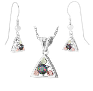 Sterling Mystic Fire Earrings & Pendant Set - Black Hills Gold - Jewelry
