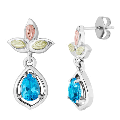 Sterling on Black Hills Gold Swiss Blue Topaz Earrings - Fortune And Glory - Made in USA Gifts