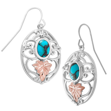 Sterling on Black Hills Gold Turquoise Earrings - Jewelry