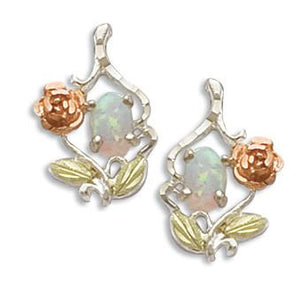 Sterling Silver Opal Rose Earrings - Black Hills Gold - Fortune And Glory - Made in USA Gifts
