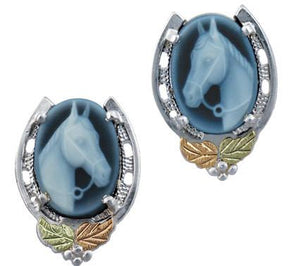 Black Hills Gold Horse Cameo Earrings - Jewelry