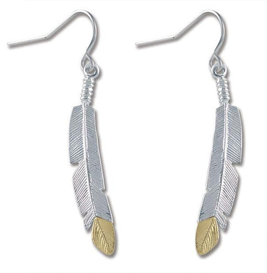 Sterling & Black Hills Gold Feather Earrings