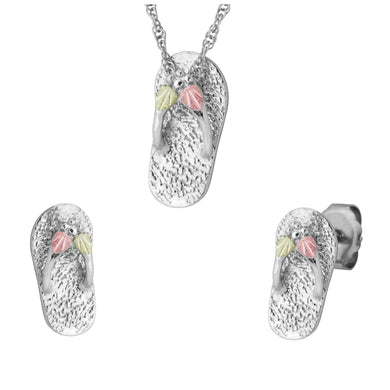 Sterling on Black Hills Gold Slippers Earrings & Pendant Set - Fortune And Glory - Made in USA Gifts