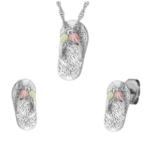 Sterling on Black Hills Gold Slippers Earrings & Pendant Set - Jewelry