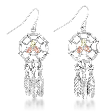 Sterling Silver Dreamcatcher Earrings - Black Hills Gold - Fortune And Glory - Made in USA Gifts