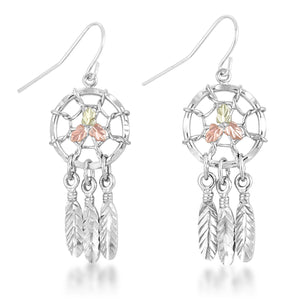 Sterling Silver Dreamcatcher Earrings - Black Hills Gold - Jewelry