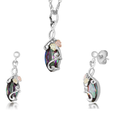 Sterling on Black Hills Gold Mystic Fire Earrings & Pendant Set II - Jewelry