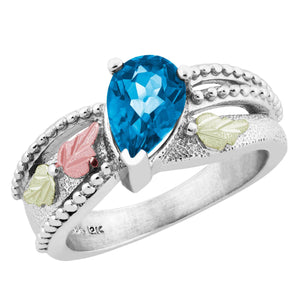 Sterling on Black Hills Gold Swiss Blue Topaz Ring - Fortune And Glory - Made in USA Gifts