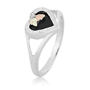 Sterling Silver Onyx Heart Ring - Black Hills Gold - Fortune And Glory - Made in USA Gifts