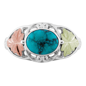 Sterling on Black Hills Gold Turquoise Ring - Jewelry