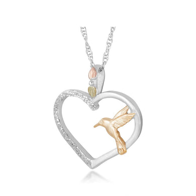 Sterling Silver Hummingbird Heart Pendant & Necklace - Black Hills Gold