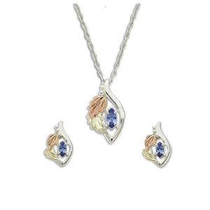 Sterling on Black Hills Gold Tanzanite Earrings & Pendant Set - Fortune And Glory - Made in USA Gifts