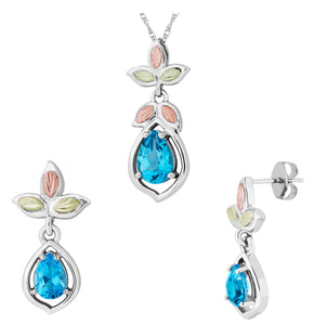 Sterling Black Hills Gold Blue Topaz Earrings & Pendant Set - Fortune And Glory - Made in USA Gifts