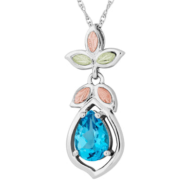 Sterling on Black Hills Gold Swiss Blue Topaz Pendant - Fortune And Glory - Made in USA Gifts