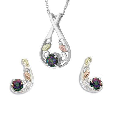 Sterling on Black Hills Gold Mystic Fire Earrings & Pendant Set III - Jewelry