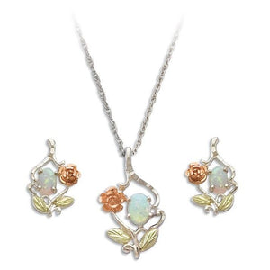 Sterling on Black Hills Gold Opal Earrings & Pendant Set - Jewelry