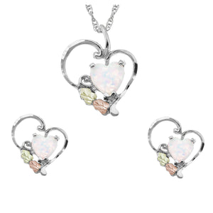 Black Hills Gold on Sterling Opal Heart Pendant & Earrings Set - Fortune And Glory - Made in USA Gifts