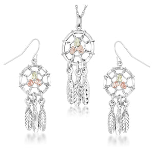 Sterling on Black Hills Gold Dreamcatchers Earrings & Pendant Set II - Fortune And Glory - Made in USA Gifts