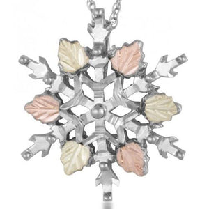 Sterling Silver Black Hills Gold Snowflake Pendant - Jewelry