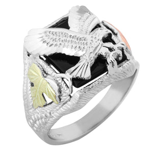 Mens Sterling Silver Black Hills Gold Swooping Eagle Ring - Jewelry