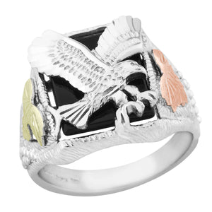Black Hills Gold on Sterling Mens Swooping Eagle Ring - Fortune And Glory - Made in USA Gifts