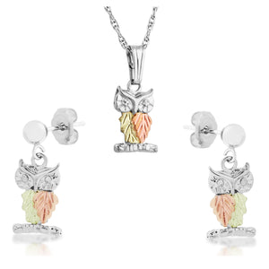 Sterling on Black Hills Gold Owls Earrings & Pendant Set - Jewelry