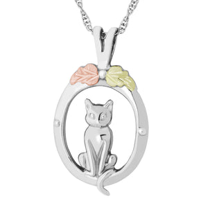 Sterling Silver Black Hills Gold Cat in Oval Pendant & Necklace - Jewelry