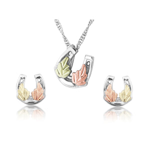 Sterling on Black Hills Gold Horseshoe Earrings & Pendant Set - Jewelry