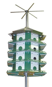 Trio Purple Martin Castle Safety System with Pole 24 Room Bird House - Birdhouses