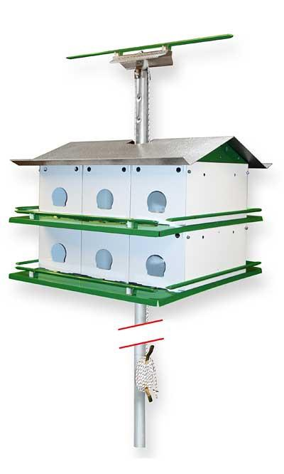 Purple Martin Birdhouse Safety System with Pole, 12 Room