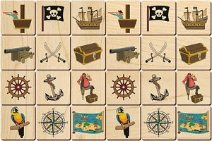 Pirates Memory Tiles Game - Maple Landmark - Wooden Toys